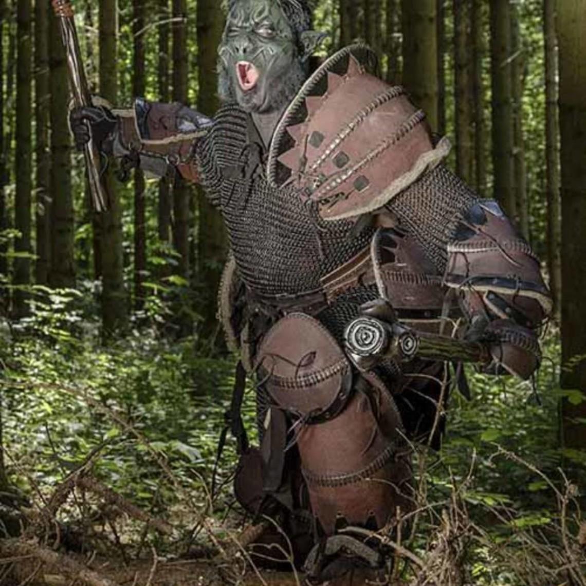 Epic Armoury Leder Orc Armschienen Uzgush, braun, Paar