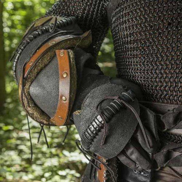 Epic Armoury Leather Orc vambraces Uzgush, black, pair