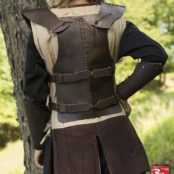 Epic Armoury RFB läder bröstet rustning S, brun