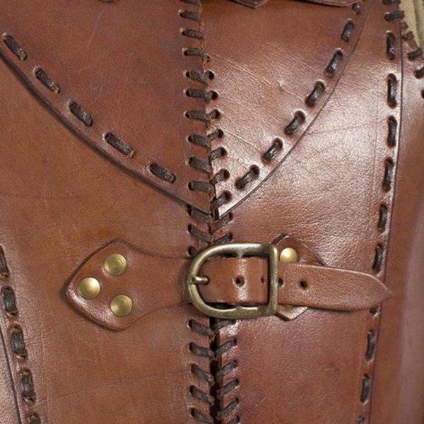Epic Armoury Armure de soldat en cuir LARP, marron