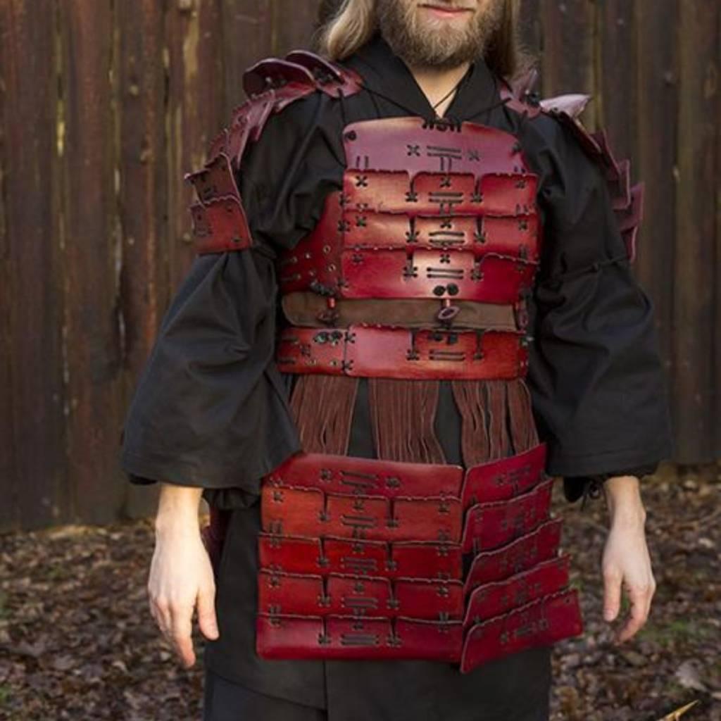 Armure de samouraï en cuir, rouge