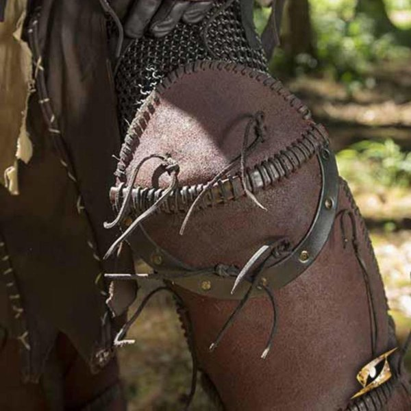 Epic Armoury Leather Orc greaves Uzgush, brown, pair