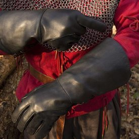 Epic Armoury Leather medieval gloves, black
