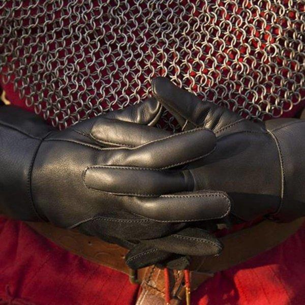 Epic Armoury Guanti medievali in pelle, neri
