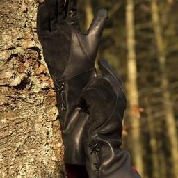 Leren middeleeuwse handschoenen, zwart