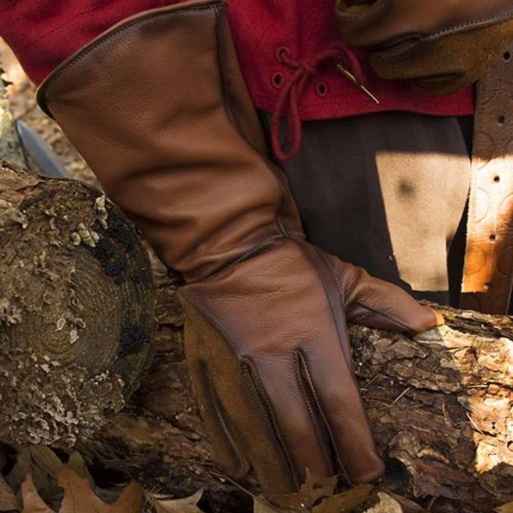 Leren middeleeuwse handschoenen, bruin
