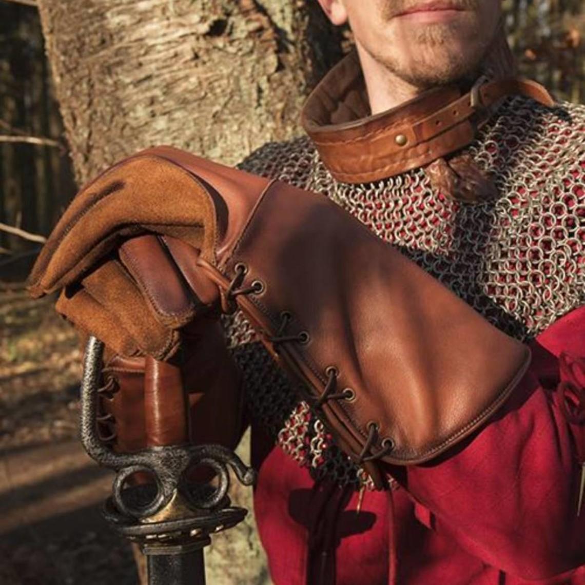 Epic Armoury Läder medeltida handskar, brun