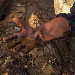 Skórzane rękawiczki średniowieczne, brązowy