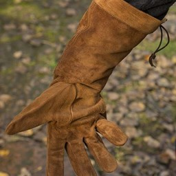 Leather fighting gloves suede, brown