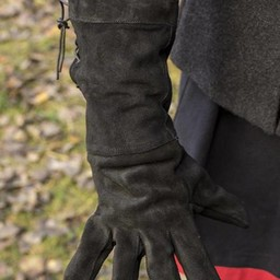 Leather fighting gloves suede, black