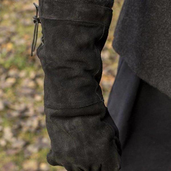 Epic Armoury Gants de combat en cuir suède, noir