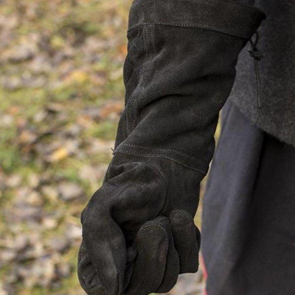 Epic Armoury Læder kæmper handsker ruskind, sort