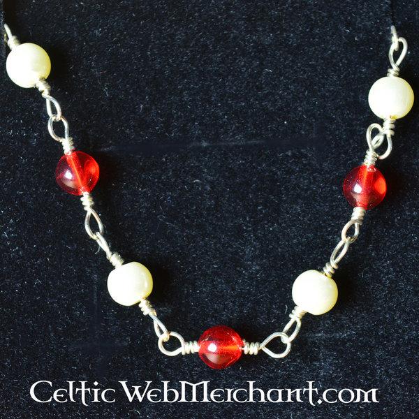 Romersk halskæde med røde sten