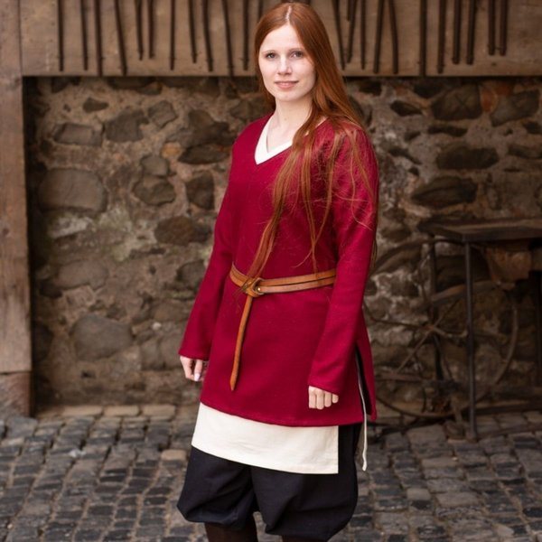 Burgschneider Tunika Skjold-jomfru Hyria uld, rød