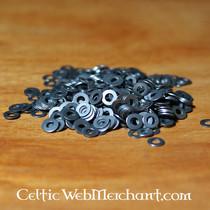50x Nubukleder schmale rechteckiges Stück für Schuppenpanzer, schwarz