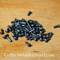 50x nubuckleren smal rechthoekig stuk voor schaalpantser, zwart