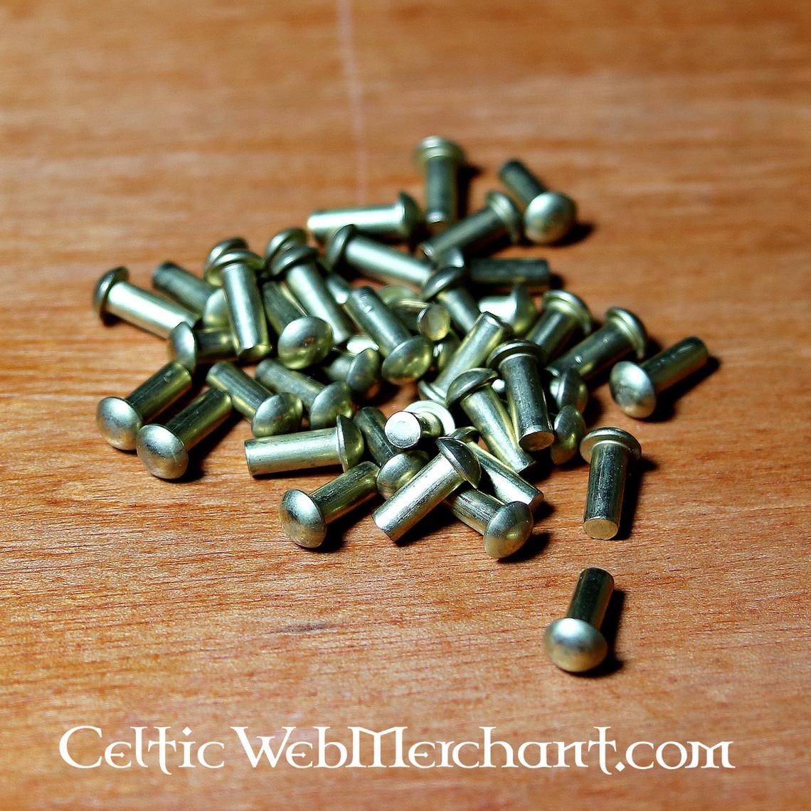 Messingen klinknagels 4 mm, 12 mm lang, set van 50