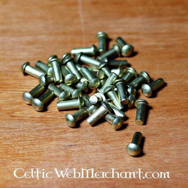 Rivets en laiton 4 mm, 12 mm de long, jeu de 50