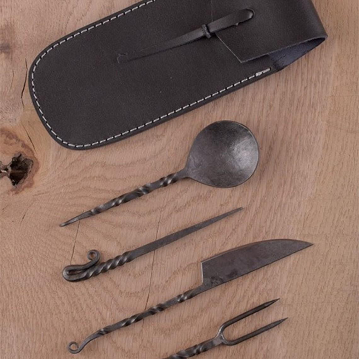 Deepeeka Mittelalterliches Besteckset mit Leder-Etui