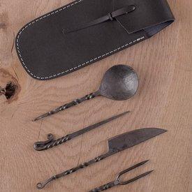 Deepeeka Medieval zestaw sztućców ze skórzanym etui