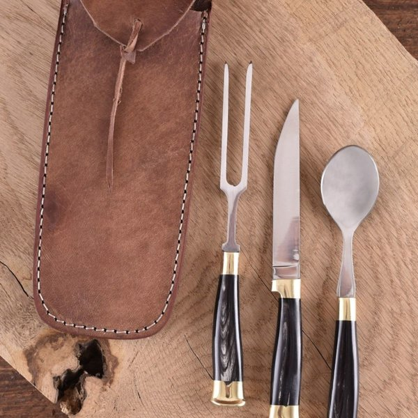 Horn cutlery set with pouch, stainless steel