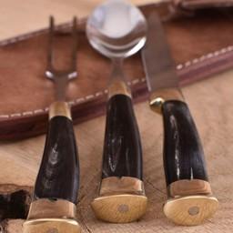 Horn komplet sztućców w etui, stal nierdzewna