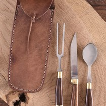 Wooden cutlery set with pouch, stainless steel