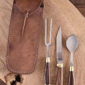 Set de cubiertos de madera con bolsa, acero inoxidable.