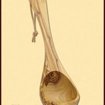 Olive wooden ladle, 26 cm