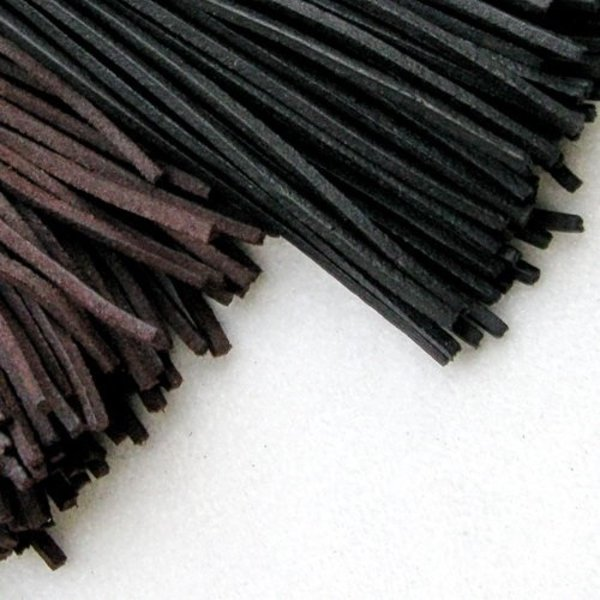Leather lace, set of 10, black