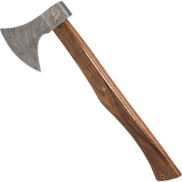 Axe with damast steel blade