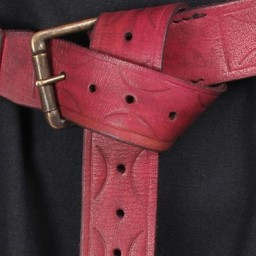 Leather belt Aruthia, red