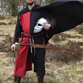 Abrigo medieval Rodrick, negro-rojo