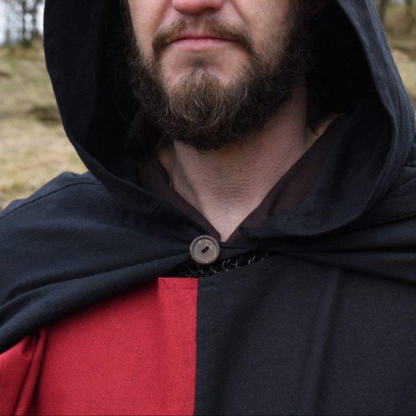 Medeltida surcoat Rodrick, svart-röd