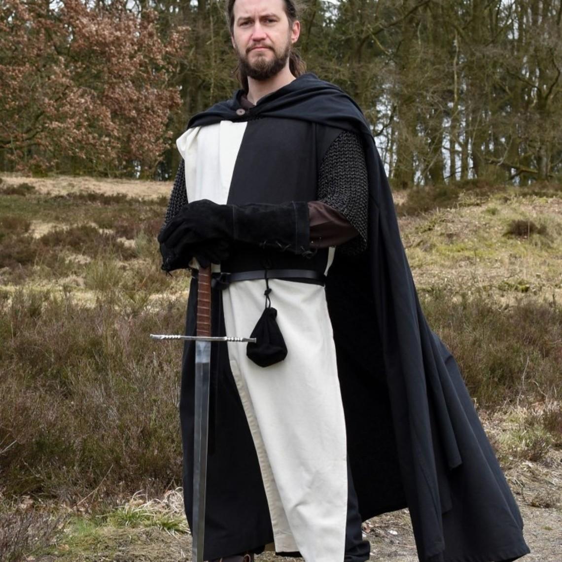 Sobretodo medieval Rodrick, natural-negro