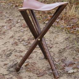 Składany stołek ze skóry z drewna