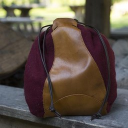 Wool-leather pouch, red-brown