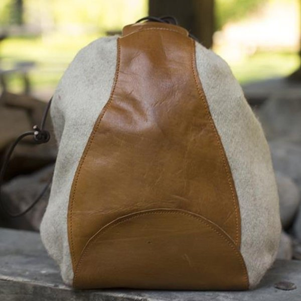 Epic Armoury Wool-leather pouch, beige-brown