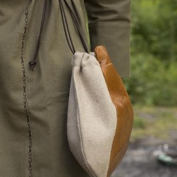 Wollledertasche, beige-braun