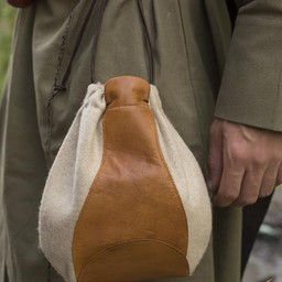 Wool-leather pouch, beige-brown