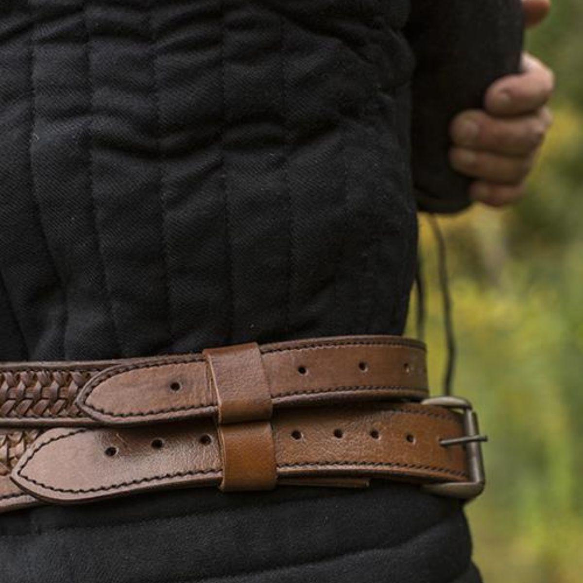 Braided sword belt, brown