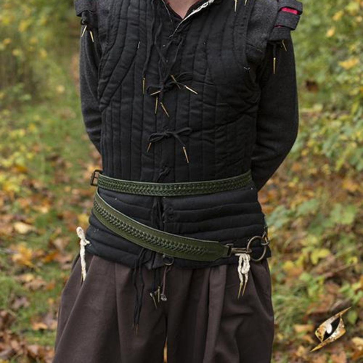 Braided sword belt, green