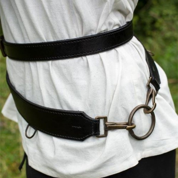 Epic Armoury Cinturón de espada de dos partes, negro
