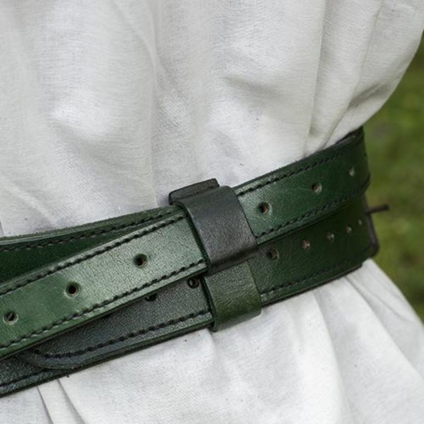 Epic Armoury Todelt sværdbælte, grøn