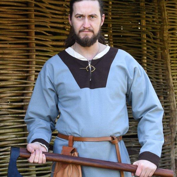(Vroeg)middeleeuwse tuniek Clovis, lichtblauwgrijs-bruin