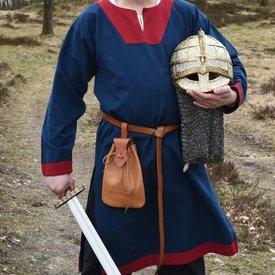 Túnica medieval (temprana) Clovis, azul-rojo.