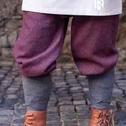 Spodnie Viking motyw jodełkowy Ivar, bordowo-szary