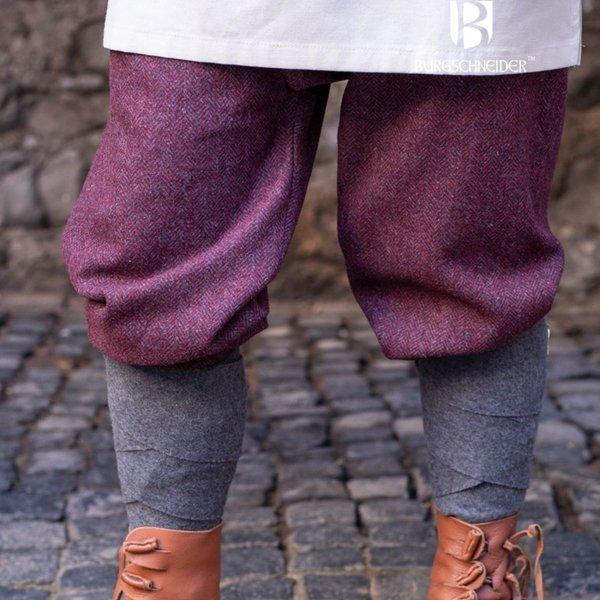 Burgschneider Pantalon Viking à motif à chevrons Ivar, gris bordeaux