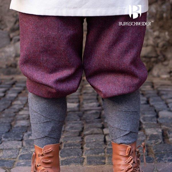 Burgschneider Viking trousers herringbone motif Ivar, burgundy-grey