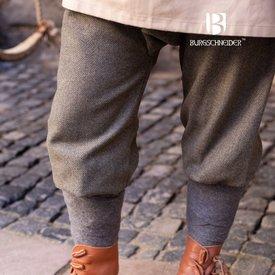 Burgschneider Pantaloni vichinghi motivo a spina di pesce Ivar, grigio oliva